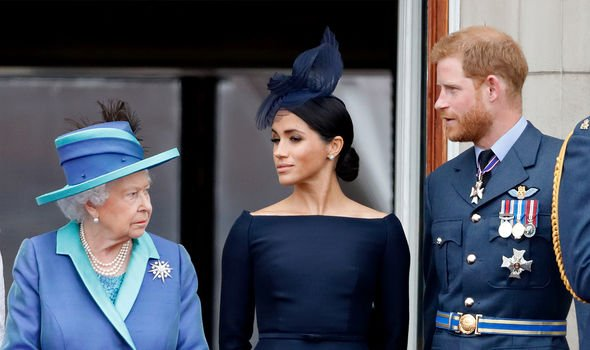 Meghan, Harry and the Queen(Image: GETTY)