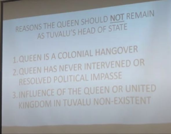 Politicians making arguments at a recent debate on The Queen(Image: Ministry of Justice, Communication and Foreign Affairs, Tuvalu )