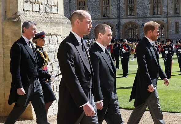 Prince Harry reunited with Prince William at Prince Philip's funeral(Image: Getty)