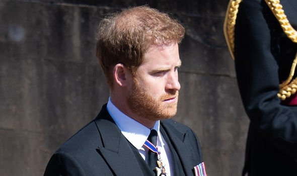 Prince Harry pictured at the Duke of Edinburgh's funeral(Image: GETTY)