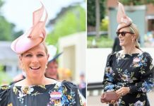 Zara Tindalldonned a floral dress by British brand Erdem for day three of the Royal Ascot.