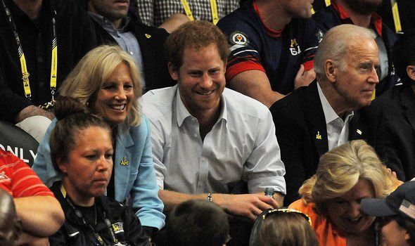 Prince Harry first met Joe Biden in 2016 during the Invictus Games in Orlando(Image: GETTY)
