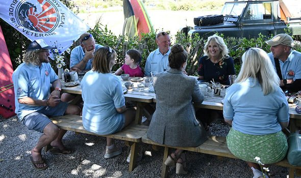 Jill Biden during a meeting with members of the Bude Surf Veterans organisation(Image: GETTY)