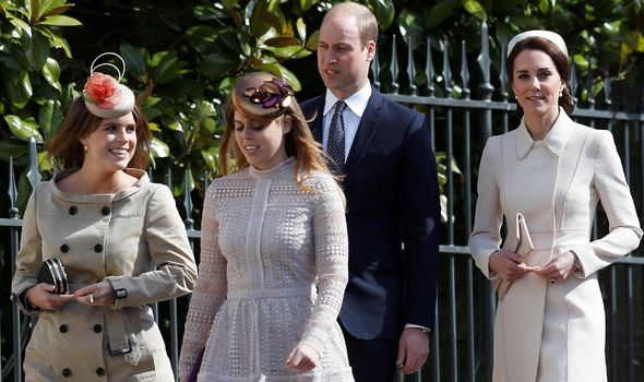 Princess Eugenie and Beatrice walking with Kate and William.(Image: GETTY)