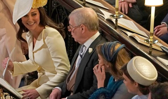 Kate greeting Eugenie at Meghan and Harry's wedding.(Image: GETTY)