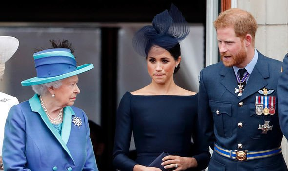 The Queen with Meghan and Harry in 2019(Image: GETTY)
