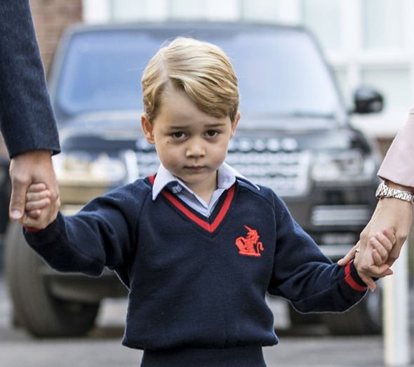 A young Prince George going to school