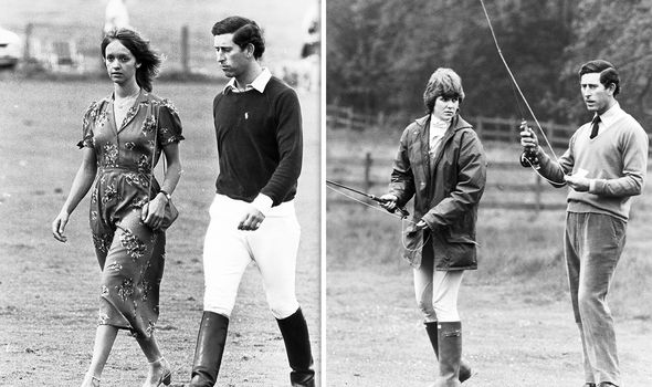 Charles with Sabrina Guinness (L) and Lady Jane Wellesley,
