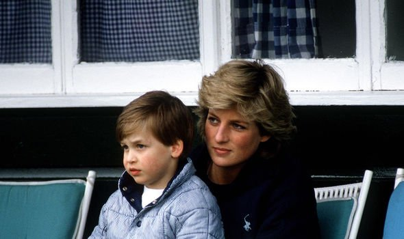 Diana with her eldest, Prince William