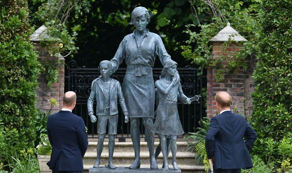 Diana statue: The brothers admire the statue