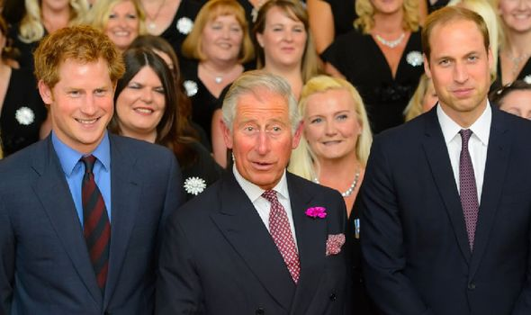 Prince Harry with Prince Charles and William