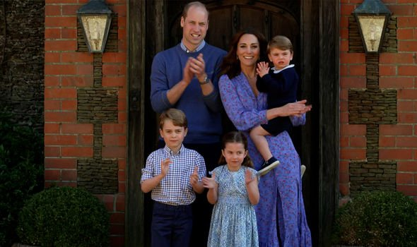 William and Kate in their Norfolk home with their children