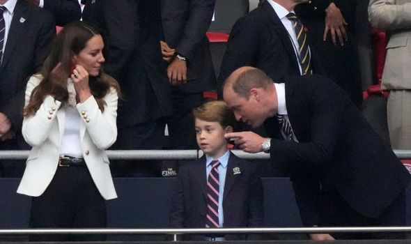 William and Kate can be seen bending down to speak to Prince George on several occasions