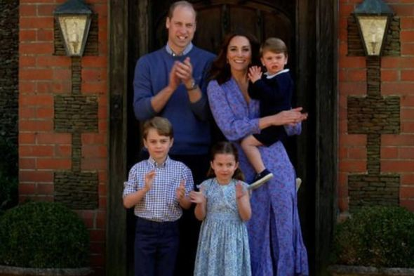 Kate and Prince William with their children in April 2020