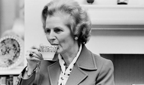 Margaret Thatcher drinking