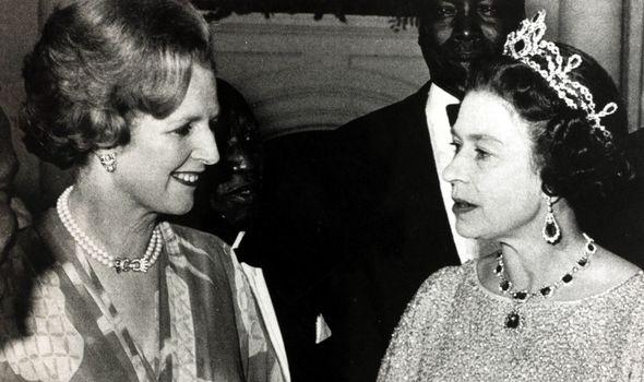Margaret Thatcher with the Queen