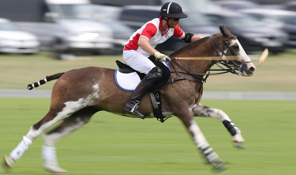 Polo: Harry pictured playing polo in 2019