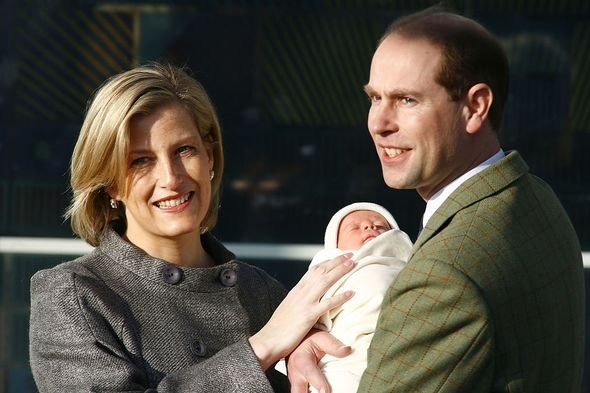 Prince Edward and Sophie Wessex with newborn James, Viscount Severn in 2007