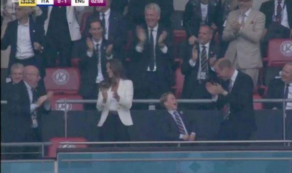 Prince George celebrates at Wembley