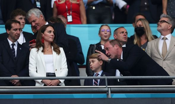 Prince George with Kate and William at Wembley.