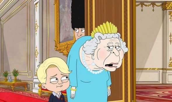 Prince George with the Queen in the cartoon