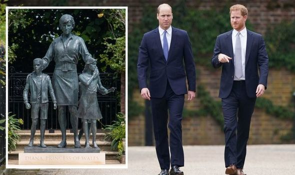 Prince Harry and Prince William with Diana statue