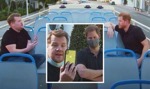 Prince Harry with James Corden.