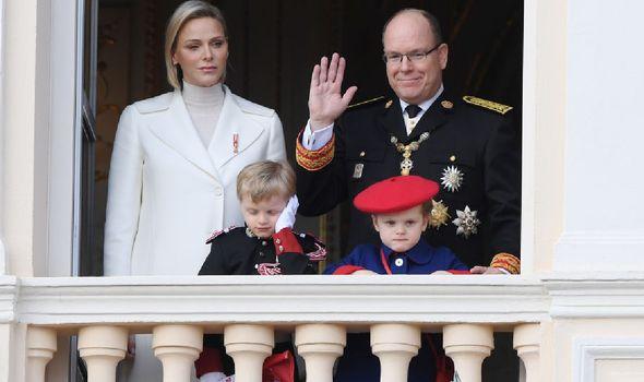 Princess Charlene with Prince Albert and children