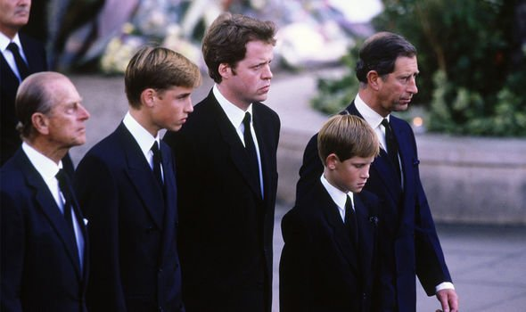 Princess Diana: A young William and Harry with Charles, Prince Philip and Spencer at Diana's funeral