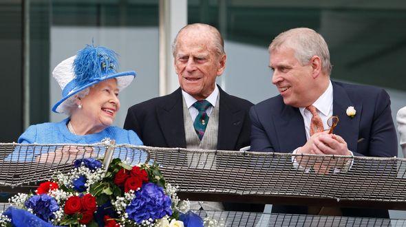 Queen Elizabeth II, Prince Philip and Prince Andrew