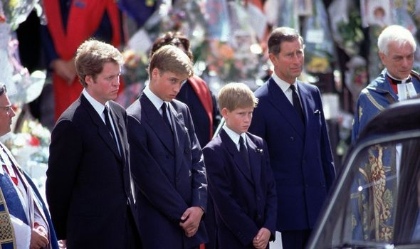William and Harry at their mothers funeral
