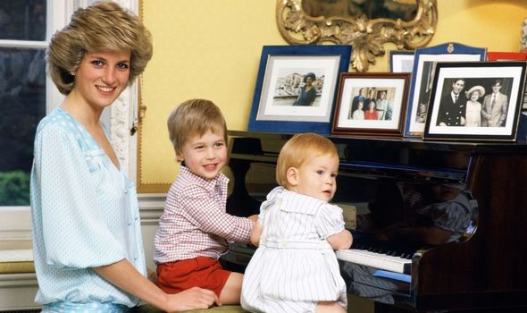 William and Harry with Diana