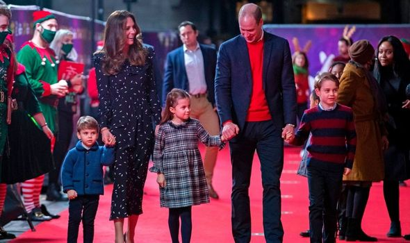 William and Kate with their children.