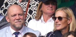Mike Tindall and Zara Tindall on centre court on day nine of Wimbledon at The All England Lawn Tennis and Croquet Club, Wimbledon: Wednesday July 7, 2021
