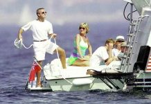 Diana, Princess of Wales and son Prince William are seen holidaying with Dodi Al Fayed