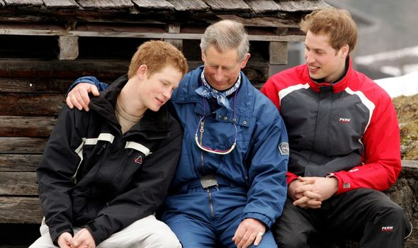 Harry, Charles and William on a skiing trip.