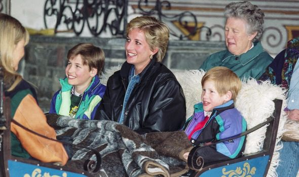 Harry, William and Diana on a carriage.