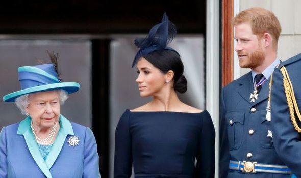 Harry and Meghan with Queen Elizabeth II