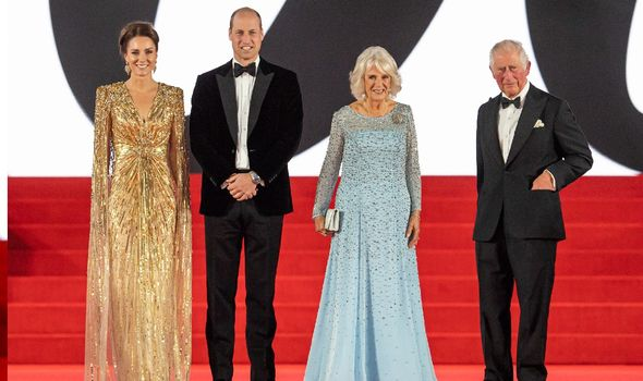 Kate, William, Charles and Camilla at Bond premiere