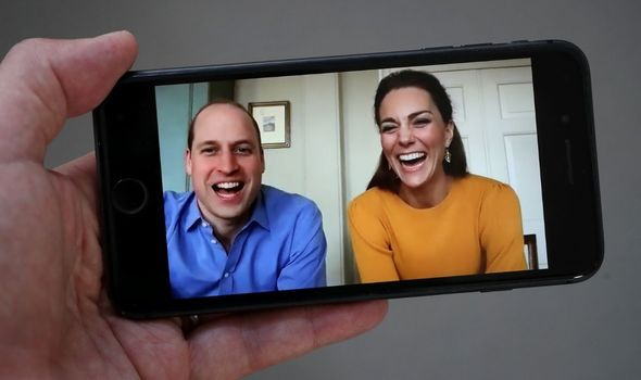 Kate and William on a video call.
