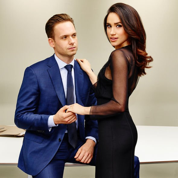 Meghan Markle in Suits with co-star Adams