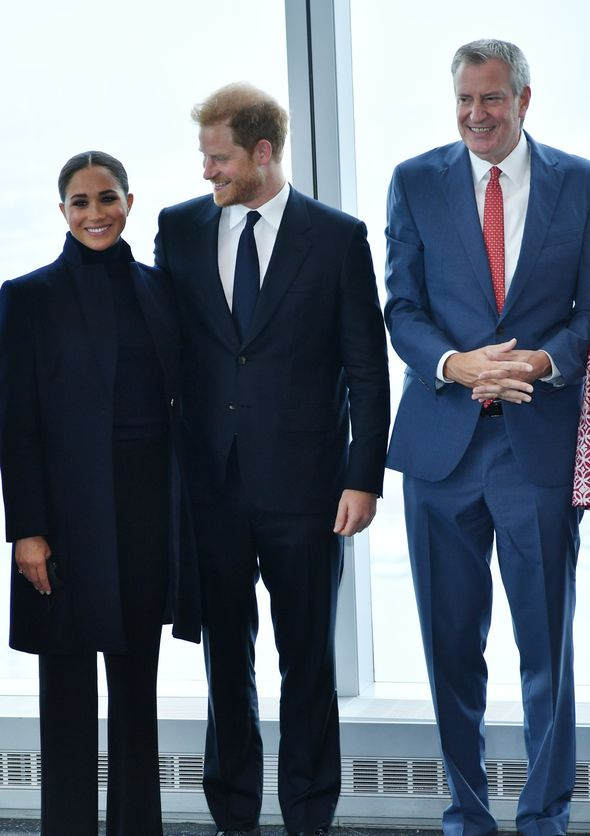 Meghan and Harry pictured with New York Mayor Bill De Blasio