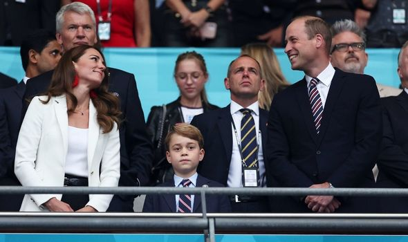 Prince George with the Duke and Duchess at Wembley