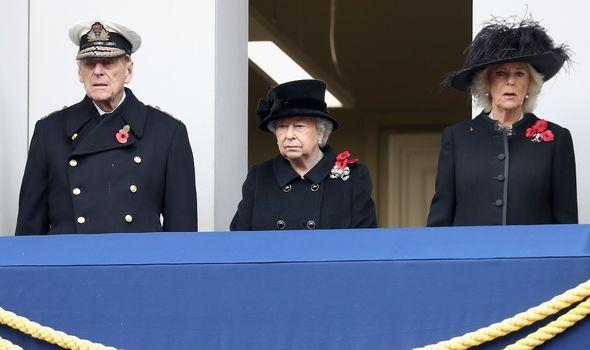Prince Philip, Queen Elizabeth II and Camilla, Duchess of Cornwall