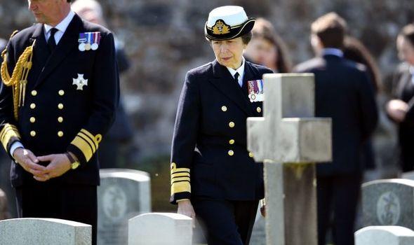 Princess Anne at a cemetery