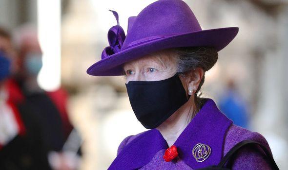 Princess Anne wearing face mask