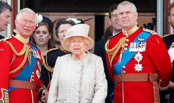Queen Elizabeth II, Prince Charles and Prince Andrew