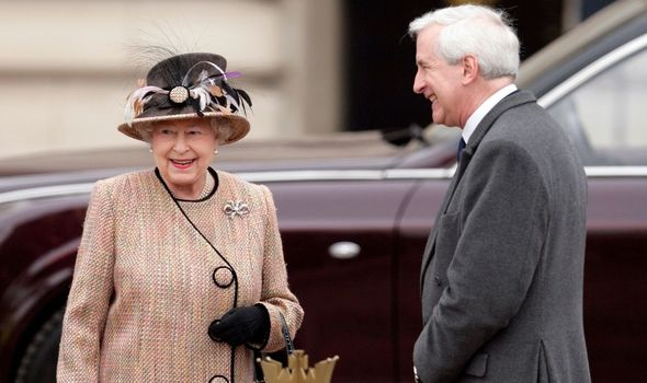 Queen: With Hugo Vickers near Buckingham Palace