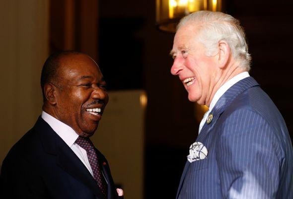 The Prince of Wales, 72, arrived alongside Ali Bongo Ondimba, 62, at the royal botanic gardens.