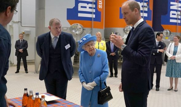 Thirsty work: Queen and William at Irn-Bru factory